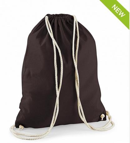 Mochila color marrón combinado con cordon color natural.