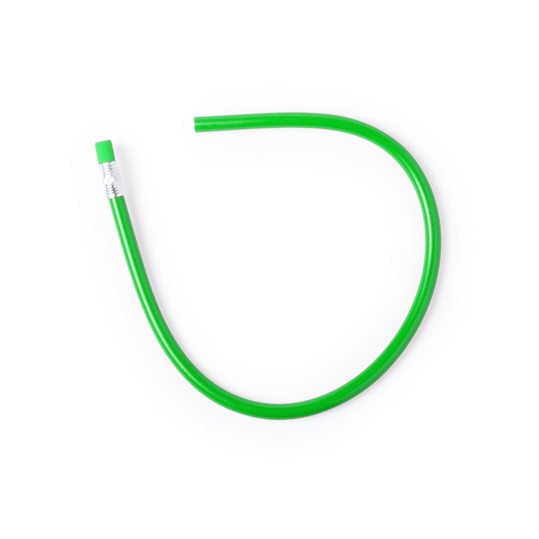 Lapiz de plastico verde con goma a juego