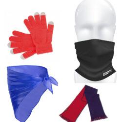 Pañuelos, pañoletas, bragas de cuello, guantes